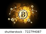 bitcoin gold digital money... | Shutterstock .eps vector #722794087