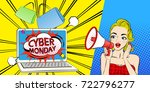 woman with cyber monday on the... | Shutterstock .eps vector #722796277