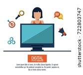digital marketing and... | Shutterstock .eps vector #722803747