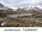 ptarmigan lake and distant... | Shutterstock . vector #722808307