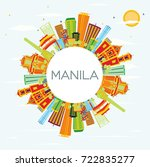 manila skyline with color...   Shutterstock . vector #722835277