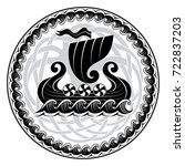 viking drakkar. drakkar ship... | Shutterstock .eps vector #722837203