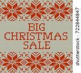 knitted christmas sale template ... | Shutterstock .eps vector #722844847