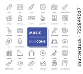 line icons set. music pack.... | Shutterstock .eps vector #722849017