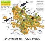 isometric 3d european flora and ... | Shutterstock .eps vector #722859007