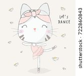 cute cat dance | Shutterstock .eps vector #722860843