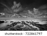 Seascape Rocky Beach In Black...