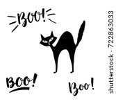 boo and spooky lettering with... | Shutterstock .eps vector #722863033