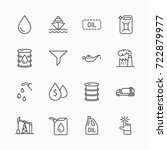 set of oil related vector line... | Shutterstock .eps vector #722879977