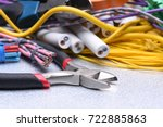 tools and cables used in... | Shutterstock . vector #722885863