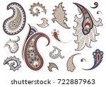 set of paisley elements in...   Shutterstock .eps vector #722887963
