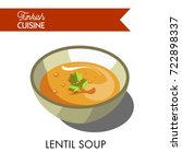 turkish lentil soup with... | Shutterstock .eps vector #722898337