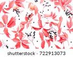 autumn creative floral...   Shutterstock . vector #722913073