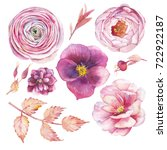 hand painted floral elements... | Shutterstock . vector #722922187