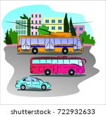 city transportation    car  bus ... | Shutterstock . vector #722932633