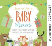 baby shower card with forest... | Shutterstock .eps vector #722941297