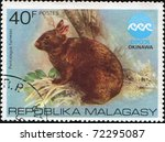 Small photo of MALAGASY - CIRCA 1975: A stamp printed in Malagasy showing Amami Rabbit - Pentalagus furnessi, circa 1975
