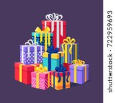 gift boxes with ribbon  bow set ... | Shutterstock .eps vector #722959693