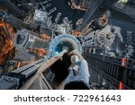 roofer legs on rooftop of... | Shutterstock . vector #722961643