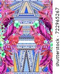 seamless graphical artistic... | Shutterstock . vector #722965267