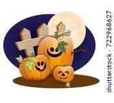 halloween pumpkins under the...   Shutterstock .eps vector #722968627