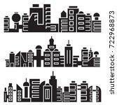 cityscape silhouette or city...   Shutterstock .eps vector #722968873