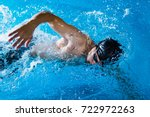 swimmers are swimming ... | Shutterstock . vector #722972263