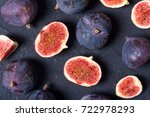 Small photo of Ripe sweet figs . Healthy mediterranean fig fruit . Top view
