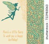 silhouette of little fairy with ... | Shutterstock .eps vector #722983063