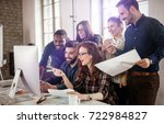 company employees working in... | Shutterstock . vector #722984827