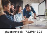corporate teamworking... | Shutterstock . vector #722984923