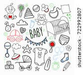 newborn child hand drawn doodle ... | Shutterstock .eps vector #722992807