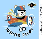 junior pilot  vector cartoon... | Shutterstock .eps vector #722994877