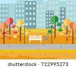 city park view autumn seasons.... | Shutterstock .eps vector #722995273