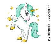 cute magical unicorn. vector... | Shutterstock .eps vector #723000547