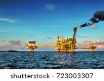 offshore construction platform... | Shutterstock . vector #723003307