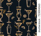 seamless pattern with cocktails ... | Shutterstock .eps vector #723004063