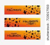 set of halloween design banners ... | Shutterstock .eps vector #723017503