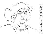 christopher columbus. hand... | Shutterstock .eps vector #723026113