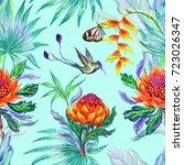 seamless watercolor pattern... | Shutterstock . vector #723026347
