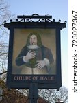 Small photo of Hale, Halton, Cheshire, England, UK. 12 February 2008. Childe of Hale Pub Sign.