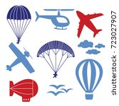 vector icons with airplanes ... | Shutterstock .eps vector #723027907
