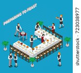 preparing to feast isometric... | Shutterstock .eps vector #723038977