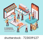 electronic commerce isometric... | Shutterstock .eps vector #723039127