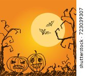 halloween orange background... | Shutterstock .eps vector #723039307