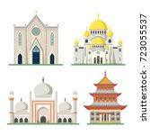 set of religious buildings like ... | Shutterstock .eps vector #723055537
