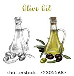 sketch of bottle with cork or... | Shutterstock .eps vector #723055687