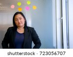 asian young woman standing at... | Shutterstock . vector #723056707