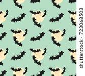 seamless pattern with bat  moon.... | Shutterstock .eps vector #723068503