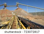 long conveyor  taking the ore... | Shutterstock . vector #723072817